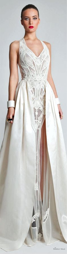 Gardem Spring 2014 Couture Add some fluff to a streamline detailed gown
