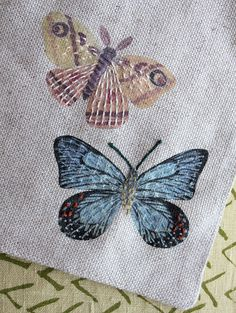 Printed and then embroidered butterflies