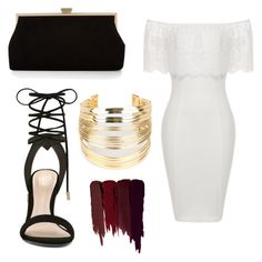 """""""White dress black gold chic"""" by abeer111 on Polyvore featuring ALDO, Monsoon, WithChic and Serge Lutens"""