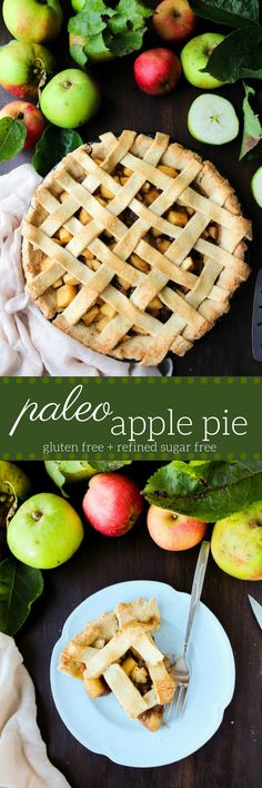 Paleo Apple Pie - made with an almond based crust and filled with a cinnamon apple + ginger filling. Gluten Free + Grain Free + Refined Sugar Free