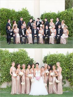 gold and black wedding party attire , subtle pink I love it