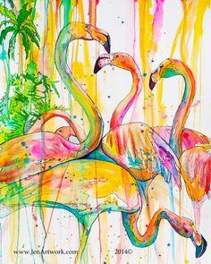 Flamingo Painting, Flamingo Art, Pink Flamingos, Painting Prints, Art Prints, Watercolor Painting, Coastal Colors, Illustrations, Tile Art