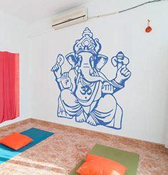 Ik432 Wall Decal Sticker Room Decor Wall Art Mural Indian God Om Elephant  Hindu Success Buddha India Ganesha Ganesh Hindu Welfare Bedroom Meditatiou2026