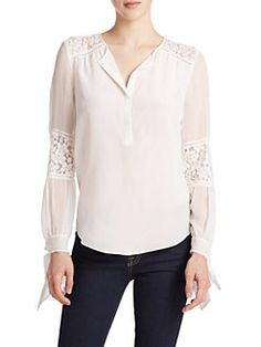 Rebecca Taylor - Silk Lace-Panel Top