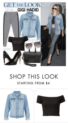 """""""Get The Look-Gigi Hadid"""" by kusja ❤ liked on Polyvore featuring Alternative, GUESS, Elizabeth and James, Victoria Beckham, GetTheLook, denim, celebstyle and gigihadid"""