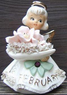 Look what I found on @eBay! http://r.ebay.com/FEUAxB Lefton February Amethyst Violet Angel figurine 489 Spaghetti Trim Gold Vintage