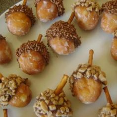 adorable acorn donut holes :) Perfect for a fall birthday party