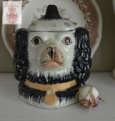 vintage Staffordshire Black Spaniel Dog Head Jar Canister Figurine - English Country Decor