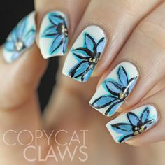 Copycat Claws: Freehand Blue Flower Nail Art