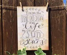 Moon of My Life, My Sun and Stars - Game of Thrones - hand drawn greeting card - blank inside