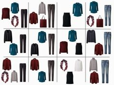 The French 5-Piece Wardrobe   A Common Wardrobe: burgundy, teal, navy and grey