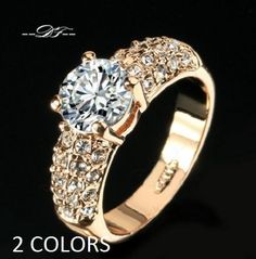Women Engagement Wedding Rings CZ Gold Plated Rhinestone Ring Jewelry JW1R030 #Unbranded #Engagement