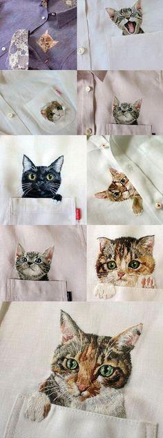 진짜 고양이 같아요. 밋밋한 옷에 자수를 통한 포인트를 주면 같은 옷이라 해도 더욱 돋 보일것 같네요. #...