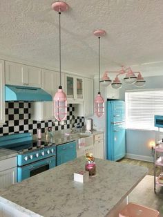 Rustic kitchen lighting and a schoolhouse chandelier completes this whimsical retro look! Home Decor Kitchen, Kitchen Design, Kitchen Ideas, Design Bathroom, Retro Home Decor, Bathroom Colors, Rustic Kitchen Lighting, Kitchen Rustic, Whimsical Kitchen
