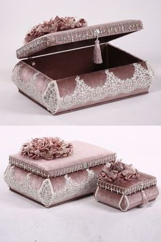 This Pin was discovered by HUZ Fabric Covered Boxes, Fabric Boxes, Wedding Gift Baskets, Wedding Gift Wrapping, Gift Wraping, Pretty Box, Altered Boxes, Ribbon Work, Diy Box