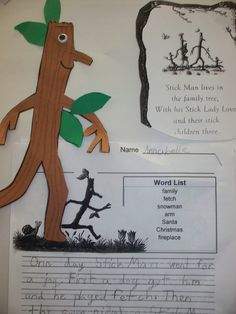 """Stick Man"" School Displays, Classroom Displays, Literacy Display, Nursery Book, Reception Class, Baby Boy First Birthday, Stick Man, Plant Science, Library Lessons"