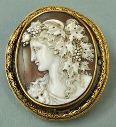 Antique Victorian Gold Hand Carved Shell Cameo Portrait Beauty Brooch Saulini | eBay