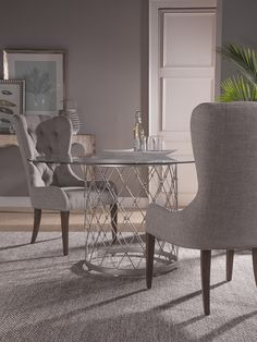 Elegant Royere, Royere Glass Top Dining Set In Argento, Dining Room Table Sets, Bedroom  Furniture, Curio Cabinets And Solid Wood Furniture   Model   Home Gallery  ...