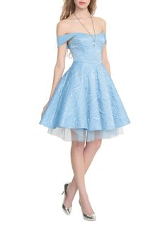 Available 2/24Disney Cinderella exclusive Hot Topic collection ball gown in powder blue with lurex stitched damask print, double layer tulle circle skirt, chiffon off-shoulder straps and lace-up back.