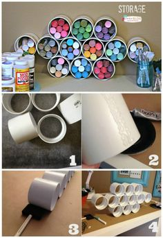 Best Ideas For Craft Room Yarn Storage Pvc Pipes Craft Paint Storage, Yarn Storage, Diy Storage, Storage Ideas, Storage Organization, Storage Solutions, Bedroom Storage, Pvc Pipe Storage, Fabric Storage