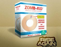 "Zomb-Aid Bandages Box Papercraft - by Rise Again ----    ""This is a stealth item, suitable for placement in a bathroom or drugstore. Most people will not notice there is anything unusual about the box. Those who do will immediately become concerned. You can use it to hold real self-adhesive bandages or anything you desire: wax lips, ammunition, or dried figs"". - Ben Tripp/Rise Again"