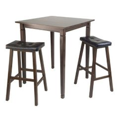 Winsome Kingsgate High/Pub Dining Table with Cushioned Saddle Stool, 3-Piece by Winsome. $214.06. Assembly required. Kingsgate routed high table with tapered legs is 33.86-inchw by 33.86-inchd by 38.90-inchh. Comes with #94069 - 2 black faux leather cushioned saddle seat stool with overall size of 17.93-inchw by 15.83-inchd by 29.69-inchh. 3-piece Set includes Kingsgate High Table features grooved detailing on four legs. Constructed from Solid wood in Antique Walnut Finish.  Sadd...