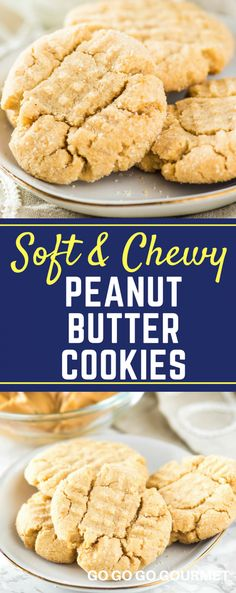 These soft peanut butter cookies are incredibly easy to make. Simple ingredients lead to a perfectly chewy homemade cookie! Best Cookie Recipes, Baking Recipes, Bar Recipes, Sweets Recipes, Tea Cakes, Shortbread, Biscotti, All You Need Is, Sun