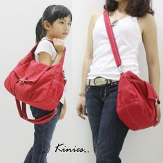 Mini CLASSIC by Kinies in Red - Single Strap Tote / Cross Body Messenger