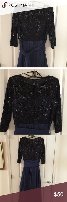 Navy Blue and Black sequins Eliza J Dress 💋 Full length skirt. Keyhole back. Like new. Fits true to size. Even more beautiful in person ✨ Eliza J Dresses