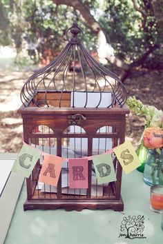 Beautiful bird cage card box... Add peacock feathers and flowers