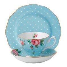 Royal Albert Polka Blue Vintage Cup, Saucer and Plate