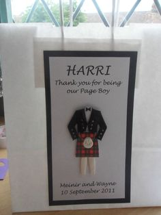 HANDMADE PERSONALISED THANK YOU BEST MAN USHER SCOTTISH GIFT BAG  PAGE BOY DAD
