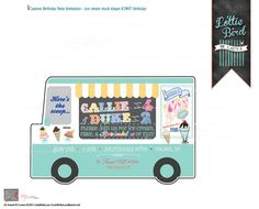 We all scream for ice cream!!! Retro Ice Cream Truck JOINT Birthday Invitation for two! Yum!  Start your party off right with this custom designed digital invitation!  Contact Laura at {Lottie Bird} for more custom keepsake designs!