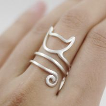 925 Sterling Silver Twine Cat Ring Young Girl Jewelry 925 Sterling Silver Rings For Women Adjustable Freeshipping(China (Mainland))
