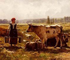 The Milkmaid - Julien Dupre, ( Nantes, Francia, 1859-1910.)