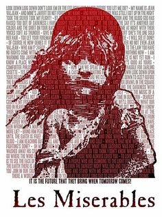 Les Miserables poster made of the musical's lyrics