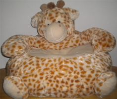 "Stuffed Plush Kids Child Chair Speckled Giraffe 24""x26 HugFun NEW Pocket Velcro *animal chairs*"