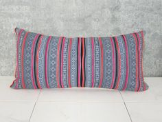 Thailand Hmong Pillow Cover / Indigo Embroidered Decorative Throw Cushion Organic Hemp Ethnic Textile Hand Spun Loom Textile Boho Thai Vivid $42.00+