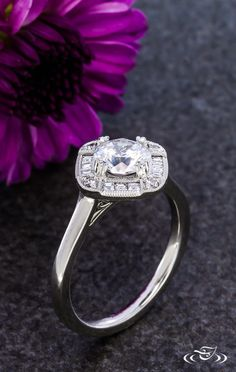 Filigree Sided Art Deco Halo Engagement Ring Green Lake Jewelry