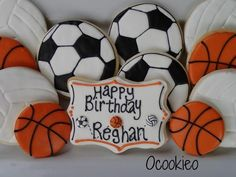 Sports Theme Birthday, Soccer Birthday, 2nd Birthday, Birthday Ideas, Volleyball Cookies, Basketball Cookies, Cookie Games, Cookie Ideas, Cute Cookies