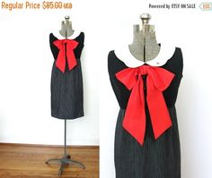 ON SALE 60s Dress / 1960s Dress / 60s Mod Big Red Bow by Coldfish
