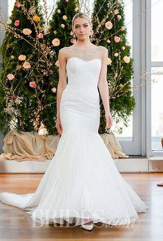 Loving the illusion necklace on this @iabridal wedding dress | Brides.com