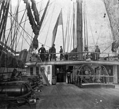 Quarterdeck of HMS Hero, the 91-gun steam battleship that brought the Prince of Wales to Canada and to Portland, Maine in 1860. Library of Congress image.
