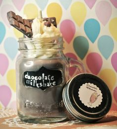 Mason Jar Chocolate Milkshake Candle -  available at my etsy shop (Lillywitch Hollow)