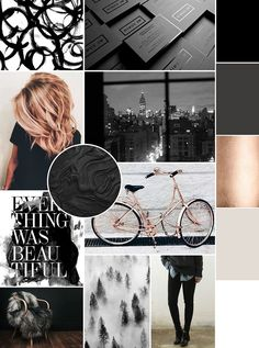 January Mood Board - black and white with a hint of rose gold | KaraLayneAndCo.com #MoodBoard #Design #Branding