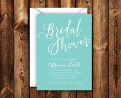 Elegant Modern Turquoise Bridal Shower Wedding Shower Invitation 5x7 Digital File or Printed Invites