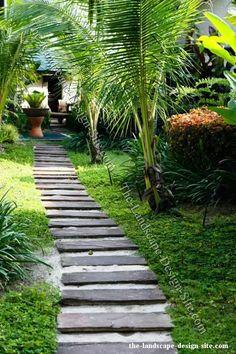 Magnificently And Inspiringly Pretty Exterior Garden Path Ideas By . Beach Gardens, Outdoor Gardens, Tropical Gardens, Tropical Landscaping, Garden Landscaping, Landscaping Ideas, Garden Paths, Garden Bridge, Landscape Design