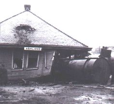 TRAIN WRECKS INTO ASHLAND STATION - anyone know is this is Ashland Ohio about 1944?  If it is this is where my father-in-law left for the War.