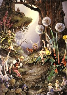 Jigsaw Crown And Andrews First Meeting-Ron & Jean Henry Fairy Collection Enchanted, Elfen Fantasy, Fairy Paintings, Mushroom Art, Love Fairy, Beautiful Fairies, Fantasy Landscape, Fairy Art, Fantasy Artwork