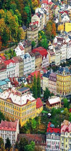 Karlovy Vary, Czech Republic- the colors are sooooo pretty. Makes the city so appealing